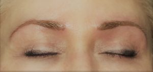 permanent eyebrows on blonde woman